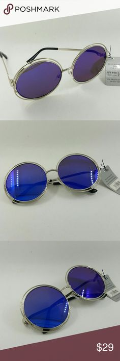 BIG ROUND WIRE MIRROR LENS FASHION SUNGLASSES BIG ROUND WIRE MIRROR LENS FASHION SUNGLASSES silver frame blue lens Accessories Sunglasses