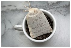 Personalized wedding favor bags, muslin, Set of The Perfect Blend with coffee bean design and custom initials in brown. Personalized Wedding Favors, Unique Wedding Favors, Wedding Ideas, Wedding Stuff, Coffee Favors, Chocolate Covered Espresso Beans, Do It Yourself Wedding, Wedding Paper Divas, Wedding Favor Bags