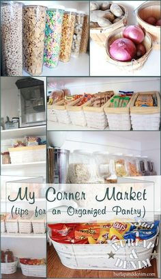 """My Corner Market: tips for an organised pantry"" - pantry organisation article, has so many great ideas. Organisation Hacks, Pantry Organization, Organizing Ideas, Organized Pantry, Pantry Storage, Food Storage, Pantry Ideas, Storage Ideas, Pantry Baskets"