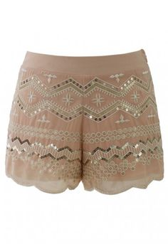 Give your cut-off shorts a break every once in a while and let your legs have a little fun in the sun in these gorgeously sequin-embellished shorts! These embroidered shorts will add the perfect amount of shine to your uber-casual tee shirts!  - Zig zag golden sequins embellishment with embroidery pattern - Beads embellished trimming along hem - Concealed side zip closure - 100% Polyester - Hand wash Size(cm)   Length   Waist   S                  28      74   fits for US0/2 UK6/8 EU...