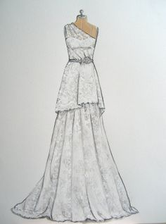 This would be a terrific wedding present.  Custom Wedding Gown Illustration on dress form by ForeverYourDress, $150.00