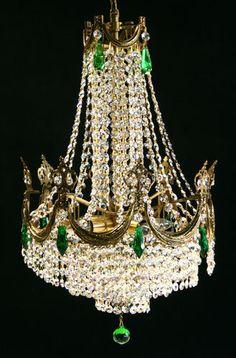 1940's French Regency Brass/Bronze Chandelier, Swarovski Crystals