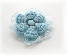 Hand Crochet Sky Blue Corsage Brooch Pin Flower by CraftsbySigita on Etsy