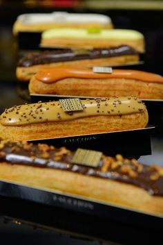 Lovely Fauchon eclairs in their lovely containers PD Sweet Pastries, French Pastries, Eclairs, Delicious Desserts, Dessert Recipes, Cake Recipes, Pasta Choux, French Patisserie, French Desserts