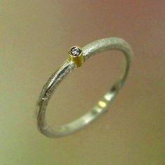 Diamond Ring Diamond Solitare Rustic by PatrickIrlaJewelry on Etsy
