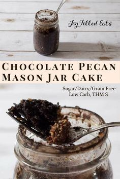 Jar cakes are the best. Dump some ingredients in a jar, shake, microwave. Eat. This Chocolate Pecan Mason Jar Cake is low carb, sugar/grain free, THM S. via @Joy Filled Eats - Gluten & Sugar Free Recipes