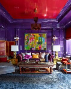 Steven Gambrel purple red lacquer walls painted ceiling