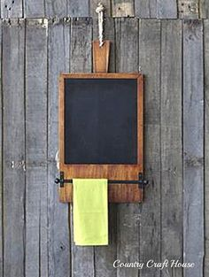 New Primitive Farmhouse Chic Wood Cutting Board CHALKBOARD Towel Rack Bar Holder