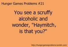 """hunger Games Problem you see a scruffy alcoholic and you wonder """"Haymitch is that you? Hunger Games Problems, Hunger Games Memes, Hunger Games Fandom, Hunger Games Catching Fire, Hunger Games Trilogy, Nerd Problems, Fangirl Problems, Tribute Von Panem, I Volunteer As Tribute"""