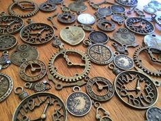 10 vintage bronze clock watch steampunk grunge scrap booking card craft charm