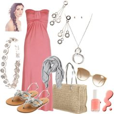 Coral maxi, created by lkbecker on Polyvore