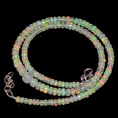 """51CRTS 4to5.5MM 18"""" ETHIOPIAN OPAL FACETED RONDELLE BEADS NECKLACE OBI2145 #OPALBEADSINDIA"""