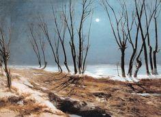 Carl Blechen (1798-1840)  Route de campagne en hiver au clair de lune,   après 1829  Huile sur panneau - 39 x 53 cm  Lübeck, Museum Behnhaus Drägerhaus  Photo : Daniel Couty