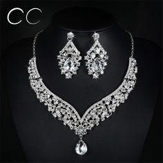 Conjuntos de brinco e colar de brilho AAA cubic zirconia & cristal austríaco conjuntos de jóias de casamento para noivas moda elegante do presente D022