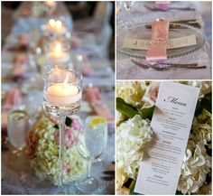 Pink and white wedding florals
