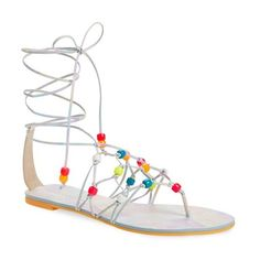 Sophia Webster 'Laetitia' Beaded Lace-Up Sandal ($330) ❤ liked on Polyvore featuring shoes, sandals, multi calf, flat sandals, leather thong sandals, leather lace up sandals, strap flat sandals and beaded flat sandals