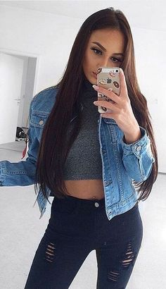 #winter #fashion /  Denim Jacket + Ripped Jeans