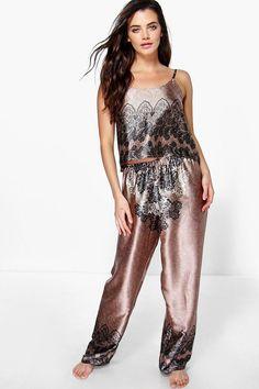 Eloise Satin Crop And Paisley Trouser Set $30