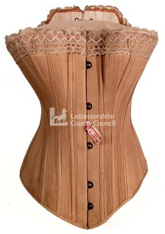 "A Symington ""Original Guaranteed Corset"" produced in 1885. These corsets were guaranteed to last for twelve months and the company would ""make good any defect which may occur during that time"". This guarantee was shown by the label on the front of the corset and the company's trade mark is also stamped on the inside."