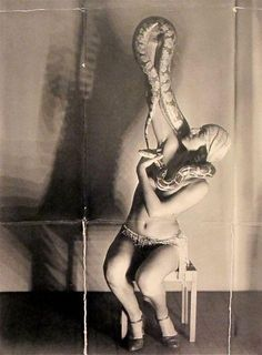 Miss Dorita, Snake Charmer by Man Ray 1930 Man Ray, Magritte, Vintage Photographs, Vintage Images, Michel Leiris, Sideshow Freaks, Bearded Lady, Circus Performers, Big Top
