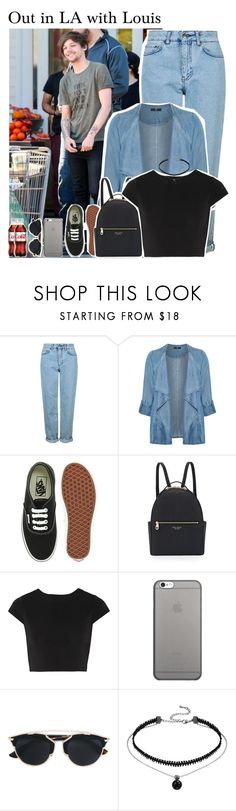 """""""706 • Out in LA with Louis"""" by queenxxbee ❤ liked on Polyvore featuring Topshop, Evans, Vans, Henri Bendel, Alice + Olivia, Native Union, Christian Dior, OneDirection, louistomlinson and LA"""