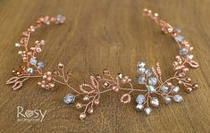 Rose Gold Hair Accessory, Rose Gold Hair Vine, Rose Gold Hair Piece, Rose Gold Wedding Tiara, Rose Gold Bridal Diadem, Wedding Crown A very elegant rose gold hair vine is made out of bigger and smaller rose gold beads, silver crystals wired with the rose gold jewelry wire. The accessory is designed to match every hairdo that a bride can imagine. It can tenderly lay on the front of your hairdo as a headband or on the back or even on the side. It will look contrastingly on the dark hair, it…