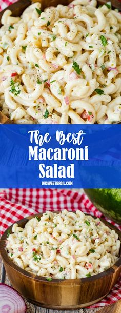 How to Make the Best Macaroni Salad Recipe – Oh Sweet Basil A macaroni salad recipe that is creamy, crispy and tangy that will be devoured at all your summer BBQs, parties and potlucks! Best Macaroni Salad, Best Pasta Salad, Pasta Salad Recipes, Macaroni Salads, Salad Dishes, Pasta Dishes, How To Make Macaroni, Creamy Macaroni And Cheese, Creamy Macaroni Salad