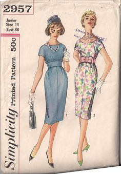 ee9712d8810 Items similar to 1950s Simplicity Dress Pattern on Etsy