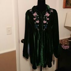 Blouse Gorgeous dark green velour blouse with embroidery accents, very nice never worn women within Tops Blouses