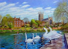 Worcester Cathedral From The RNIB Boathouse Steps Oil Painting by Roger Turner. Worcester situated on the banks of the River Severn, in Worcestershire Worcester Cathedral, House Of Stuart, Malvern Hills, Best Jigsaw, River Severn, Cathedral City, 12th Century, Puzzle Art, Oil Painting On Canvas