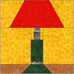Free Paper-Pieced quilt block pattern for a lamp.
