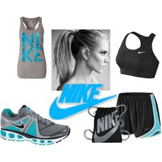 A fashion look from June 2012 featuring NIKE, nike sports bra and tennis shoes. Browse and shop related looks. Fitness Gear, Fitness Clothing, Health Fitness, Nike Sportswear, Workout Gear, Cute Guys, Fashion Looks, Gym, My Style
