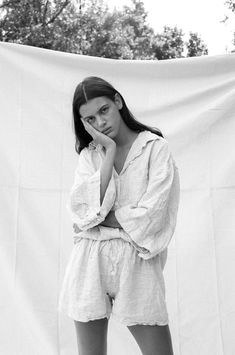 The 03 Set Pinstripe pyjamas by Deiji Studios features an over sized linen shirt with wide arms & a front pocket. Portrait Photography, Fashion Photography, Loungewear Set, Pajamas Women, Editorial Fashion, Lounge Wear, Ralph Lauren, How To Wear, Clothes