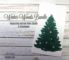 Simple Christmas card using Stampin' Up!'s Winter Woods Bundle and Narrow Note Cards & Envelopes. Visit iStampin.com to learn more. Simple Christmas, Christmas Cards, Aspen Trees, Wood Stamp, Envelopes, Note Cards, Woods, Stampin Up, Paper Crafts