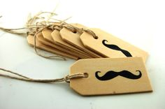 Wooden Mustache Gift Tags Set of 10. $6.00, via Etsy. Movember party must have!