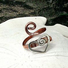 Heart sterling silver and copper  toe ring adjustable SALE..$18.00 Etsy... LOVE this