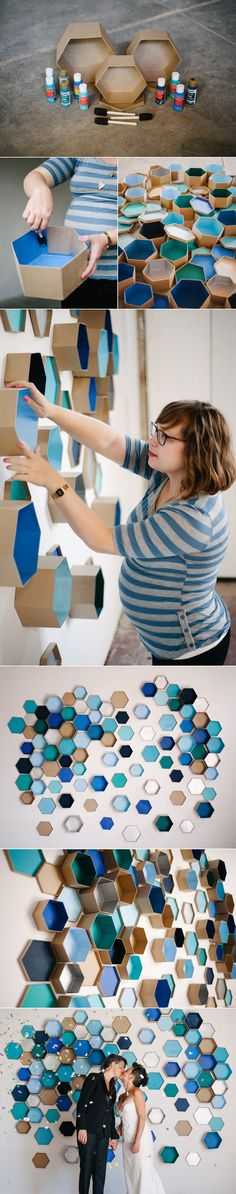 How To Geometric Hexagon Box Wedding Backdrop is part of Geometric wedding - DIY Geometric wedding backdrop with hexagon boxes Wedding Picture Walls, Diy Wanddekorationen, Diy Wall, Wall Decor, Wall Art, Ceiling Decor, Mur Diy, Hexagon Box, Practical Wedding