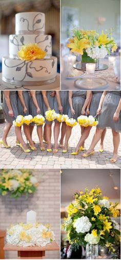 love the color combos #grey #bridesmaids #yellow