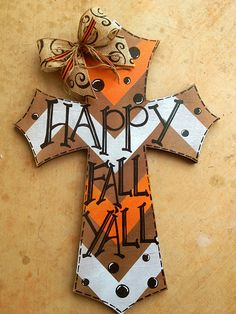 DIY Happy Fall Y'all painted cross door hanger