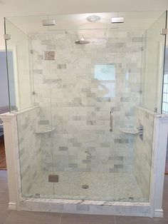 Renovation #3 - master bathroom, carrera marble, frameless glass shower, subway tile
