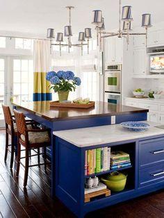 Cobalt blue island, dark floors, wood and marble countertops. Yeah, I love it.