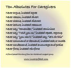 Ten Absolutes For Caregivers #caregiver #caregiving