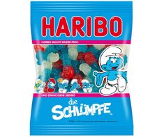Haribo candies shaped like Smurfs they taste great and look fun to. So if you like gummi candy then check these out! Gummi Candy, Candy Recipes, Gourmet Recipes, Candy Videos, Cute Snacks, Candy Brands, Disney Frozen Elsa, Disney Princess, Candy Bouquet