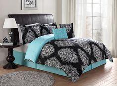 Black & Turquoise Teal Blue Comforter Set Elegant Scroll Teen Girl Bedding Queen or King