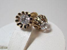 Adorable Diamond Buttercup 14K Gold Vintage Earrings