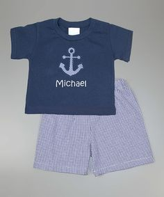 Loving this Navy Personalized Tee & Shorts - Infant, Toddler & Boys on #zulily! #zulilyfinds