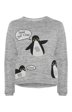 Primark - Grijze pyjamatop met pinguïns
