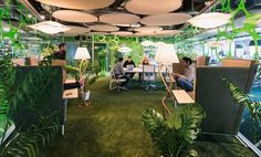Another quirky Google office in Dublin by Swiss design firm Camenzind Evolution. A crazy mixed bag of meeting rooms range from treehouse nooks to grassy knolls, rope swings and an Irish pub (oh yes, they did) and in between there's breakout areas galore.