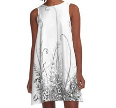 Graphic moss and ferns A-line dress by Alicja August