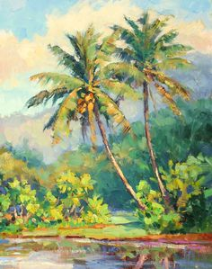 New palm tree painting acrylic tropical 15 ideas Seascape Paintings, Nature Paintings, Beautiful Paintings, Art Watercolor, Watercolor Landscape, Hawaiian Art, Landscape Artwork, Tropical Art, Beach Art